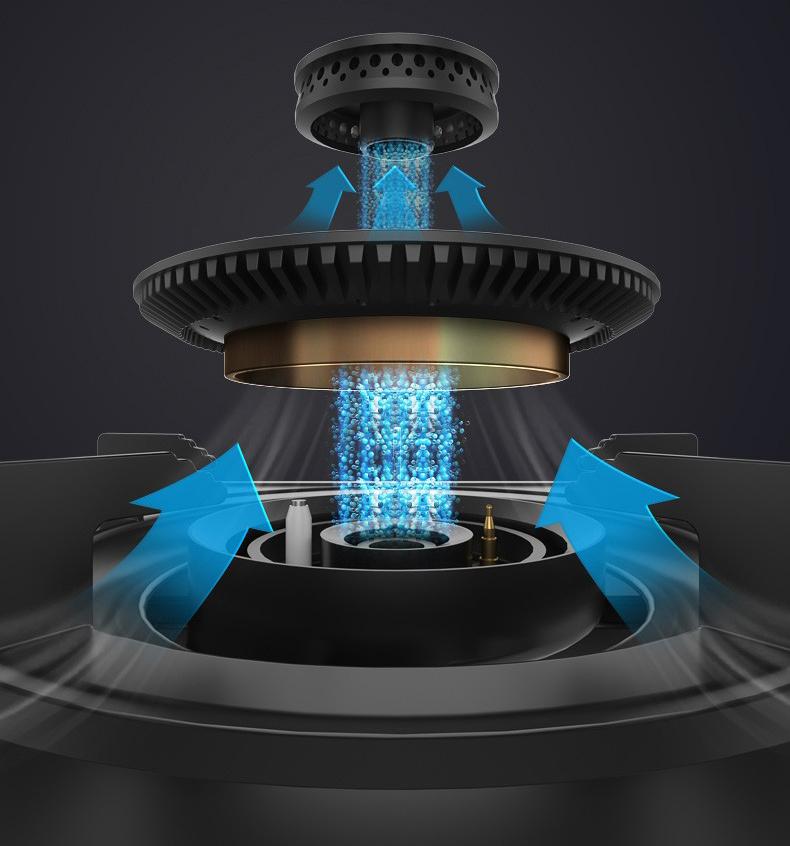 嵌入式炉灶具分火器(火盖)与炉头安装及工作原理