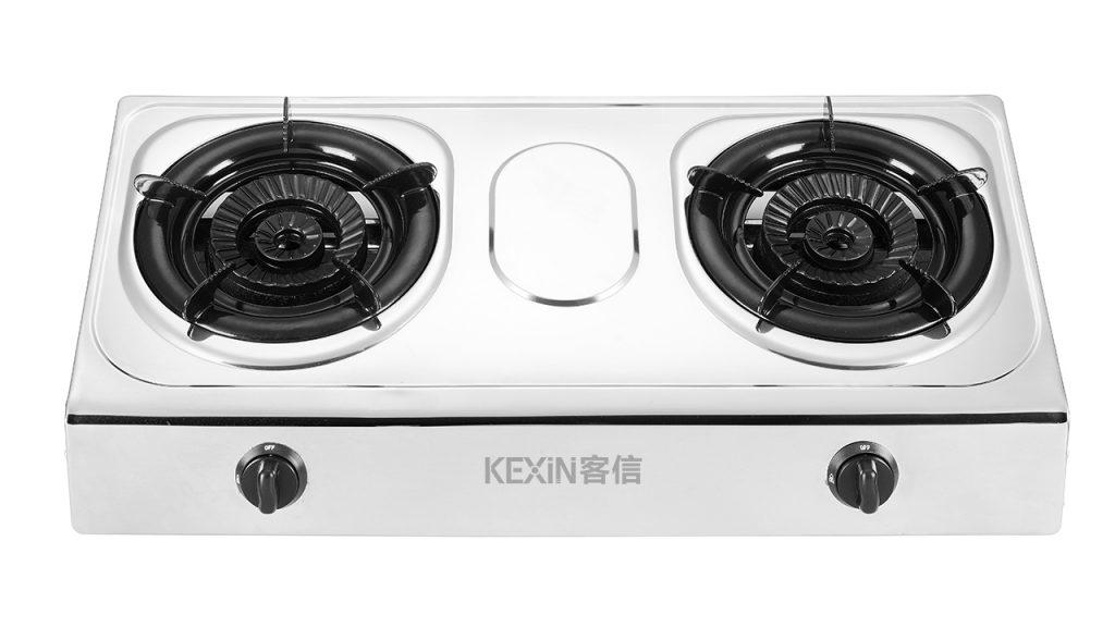 KEXIN客信台式钢面燃气炉,不锈钢台式双头煤气灶具